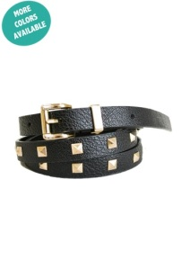 Studded Skinny Vegan Leather Belt with Gold Square Buckle and Loop